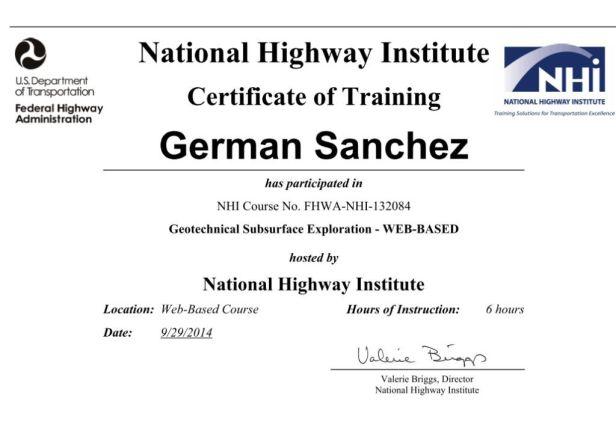 Certificado de Aprovechamiento el curso